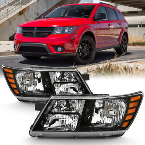 09 18 Dodge Journey factory Style Black Replacement Headlight Lamp Left right