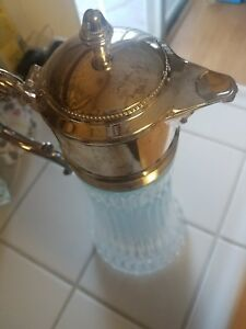 Fb Silver Co Italy Glass Silverplate Pitcher Handle Spout