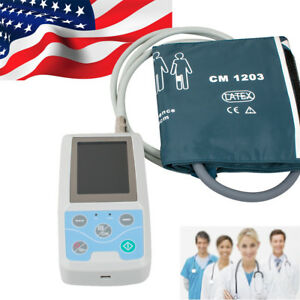 Contec 24h Ambulatory Blood Pressure Monitor Abpm Holter Ecg Ekg Systerm 3cuffs