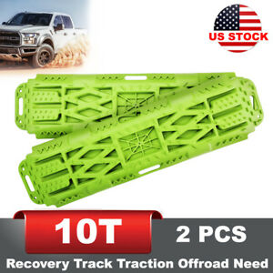 2pcs Green Recovery Track Traction Offroad Ladder Sand Snow 10t Load Capacity