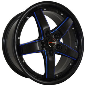4 Rims 18 Inch Black Blue Mill Drift Rims Fits Mitsubishi Lancer Evolution 08 15