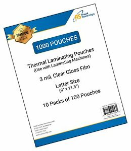 Royal Sovereign 3 Mil 1000 count Thermal Laminating Pouches 9 X 11 5 Clear