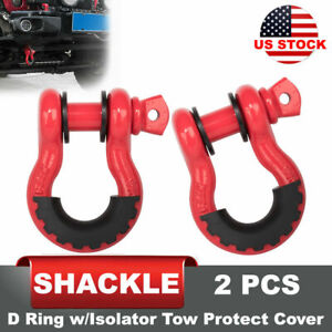 2pcs D Ring Shackle Red W Isolator Tow Silencer Black Clevis Protector Cover