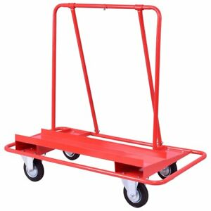 Golplus Drywall Sheet Cart Heavy Duty Dolly Handling Sheetrock Panel Red