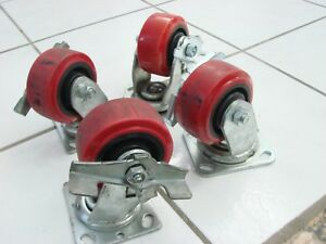 Kccy Heavy Duty Set Of Four Casters With Full Swivel And Stoppers
