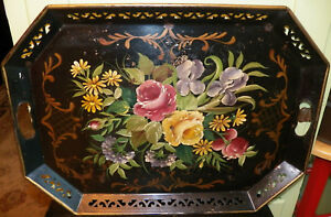 Vintage Tole Tray Rectangular W Floral Bouquet Reticulated Sides Cutout Handles