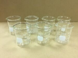 Pyrex 250ml Lab Glass Beakers Heavy Duty Griffin And Low Form Griffin Lot Of 7