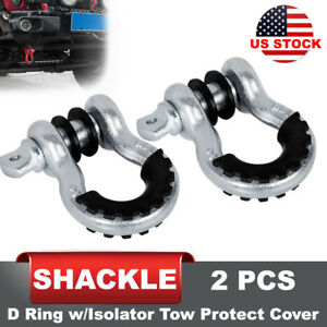 2pcs D Ring Shackle Silver W Isolator Silencer Black Clevis Tow Strap Winch Set