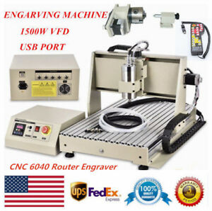 4axis Usb Cnc 6040 Router Engraver Spindle Driiling Milling Machine 1500w 3d Vdf