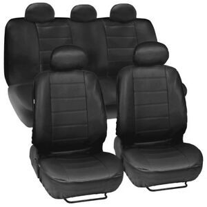Universal Leatherette Car Seat Covers Front Rear Full Set Synthetic Leather Auto