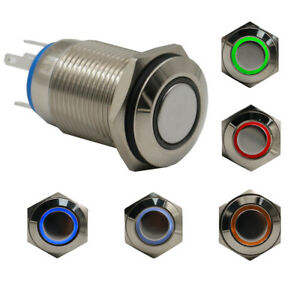 10pcs 16mm Round Light Maintained Button Push Switch Waterproof 5pin Dc12v