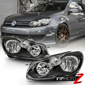 Pair Replacement Headlight Factory Style Direct Fit 10 14 Vw Golf Jetta Wagon
