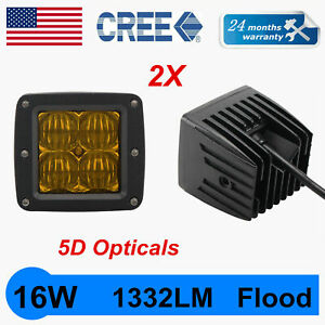 2x 3inch 16w Cree Led Work Light Cube Pods Spot Driving Fog Amber Warning 5d Len