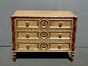 Vintage Maitland Smith Gold Ornate Chest Buffet Hollywood Regency Dresser