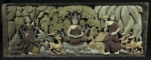 Mid 20th Century Old Wooden Buddha Panel From Burma Antique Buddha Statues