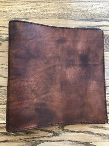 Vintage Handcrafted Leather Ring Binder Brown 11 5 12 3 Wide Open 26 Inch