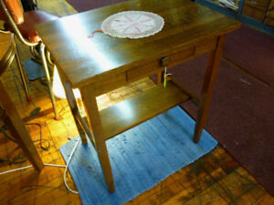 Antique Oak Table Mission W Drawer Desk Telephone Computer End Table Refinished