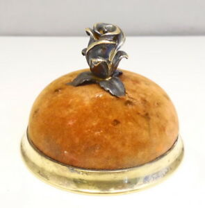 Antique Tiffany Company Red Velvet Sterling Silver Vermeil Rose Pin Cushion