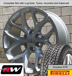 20 X9 Inch Gmc Sierra Snowflake Wheels Silver Rims A T Tires Fit Chevy Avalanche