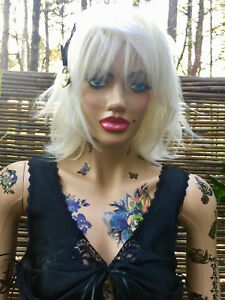 Fdw Full Body Female Mannequin With Tattoos And Clothes Blonde Wig Full Makeup