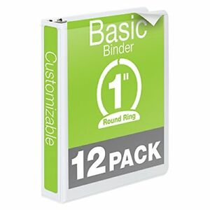 Wilson Jones 1 Inch 3 Ring Binder Basic Round Ring View Binder White 12 Pack