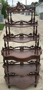 Antique Etagere Walnut Mid Victorian Shelves Display Fretwork Valances 1850 1875