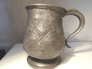 Old Pewter Mug Handmade Floral Design 10cm Tall
