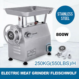 800w Industrial Shop Electric Meat Grinder Meats Grind Meat Mincer 550lbs h