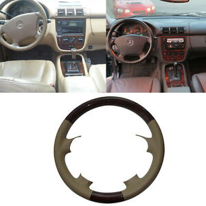 Leather Wood Steering Wheel Cover Decor For Mercedes 98 05 W163 M Ml Ml320 Ml430