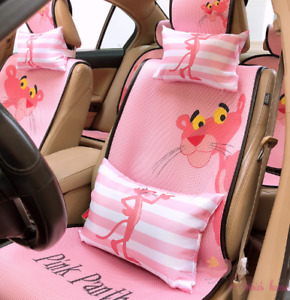 Pretty Cute Naughty Pink Panther Front Back Seat Cover Full Set Universal Covers
