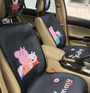 Pretty Cute Peppa Pig Black Front Back Seat Cover Full Set Universal Covers