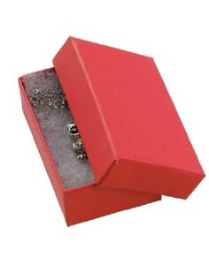 Jewelry Boxes 50 32 Red Matte Finish Cotton Filled Retail Gift 3 1 16 X 2 1 8