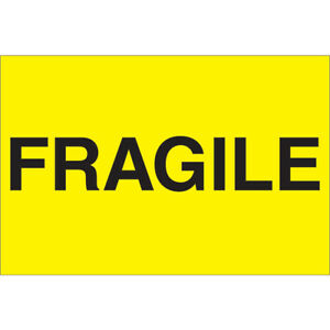 Tape Logic Labels fragile 2 X 3 Fluorescent Yellow 500 roll Dl1057