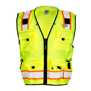 Ml Kishigo Class 2 Reflective Surveyor Safety Vest With Pockets Yellow lime