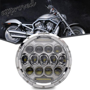 7 Motorcycle Chrome Daymaker Projector Hid Led Light Bulb Headlight For Harley