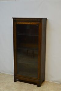 Antique Solid Oak 1 Door Bookcase