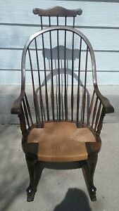 Antique Mahogony Windsor Rocking Chair Comb Back Tweed Seat Karpen Furniture Co