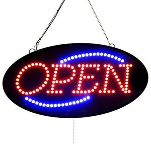 High Quality 10x20 Led Open Signs oval Shape W On off Blinking And Flashing