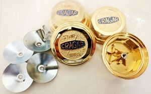 Set Of 4 Brand New Cragar Star Wire Wheel genuine 24k Gold Plated Center Caps