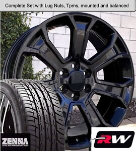 22 Inch Wheels And Tires For Chevy Silverado 1500 Replica 5665 Gloss Black Rims