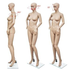 69 Female Mannequin Full Body Pe Realistic Display Head Turn Dress Form W Base