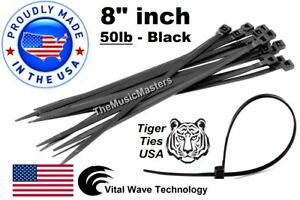 1000 Black 8 Inch Wire Cable Zip Ties Nylon Tie Wraps 50lb Usa Made Tiger Ties
