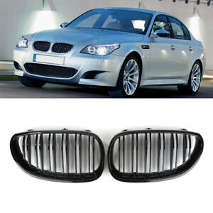 Black Kidney Front Grille For Bmw5 Series E60 E61 2003 2009 Glossy Fit 2003 2009
