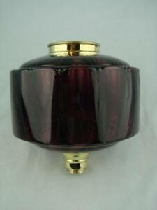 Victorian Amethyst Moulded Glass Oil Lamp Font Brass Screw Fit Collar
