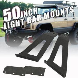 Windshield Mounting Bracket Fit For Jeep Cherokee Xj 50inch Curved Led Light Bar