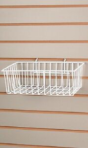 5 Baskets Wire Slatwall 12 X 8 X 4 Pegboard Display Basket Slat White