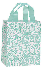 Frosted Plastic Bags 100 Aqua Blue Damask Merchandise Shopping Frosty 8 X 5 X 10