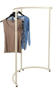Half Round Clothing Rack Pipeline Collection Ivory Garment 37 1 2 X 55