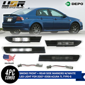 Plug Play White Led Smoke Side Marker Light For 07 08 Acura Tl Type S Only