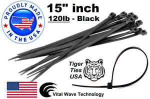 1000 Black 15 Inch Wire Cable Zip Ties Nylon Tie Wraps 120lb Usa Made Tiger Tie